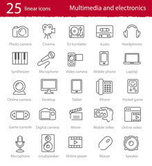 Vector thin line multimedia and electronics icons set