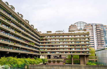 View of Barbican complex in London, England