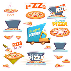 Vector set of Pizza icons, labels, signs, symbols and design