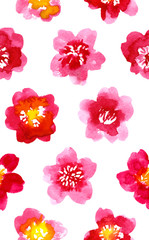 Watercolor painted pattern with camellia