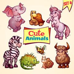 Vector set of cute animals. Elephant, snail, iguana and etc.