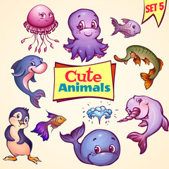 Vector set of cute sea animals. Dolphin, pike, octopus and etc.