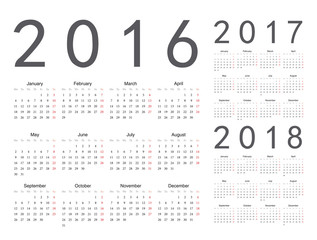 Set of European 2016, 2017, 2018 year vector calendars