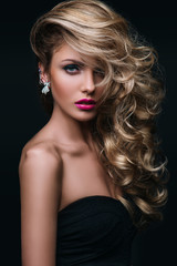 beauty girl blond hair curly