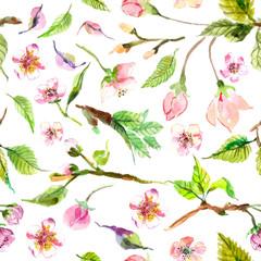 Watercolor apple flowers seamless pattern