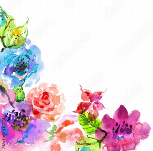Watercolor Floral Frame Beautiful Natural Illustration