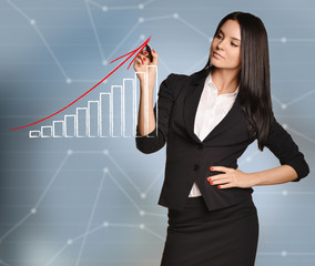 Woman draws red arrow of growth over bar graph
