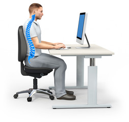 Richtige Sitzposition, Illustration 3D