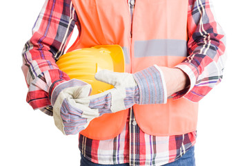 Builder or construction worker pulling out glove