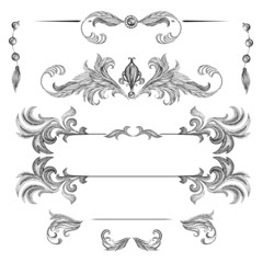 A set of decorative frames and design elements, floral ornaments