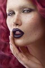 beauty girl freckles curls
