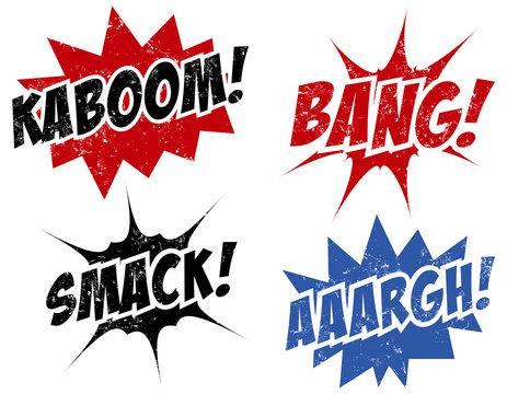 comics words stamps