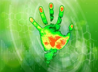 thermal hand print, chemical formulas, radial HUD  & green bokeh