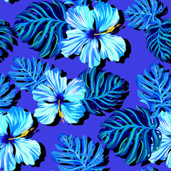 seamless vector hibiscus pattern