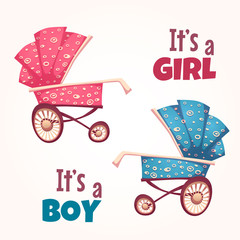 Vector set of flat baby girl and boy carriage