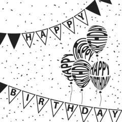 Balloons and triangle flags Happy Birthday text warping