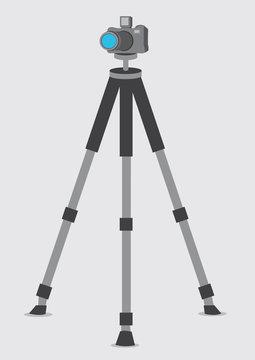 DSLR Camera on Tripod Vector Illustration