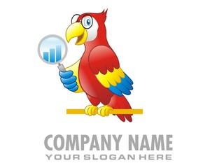 parrot chart magnifer logo image vector