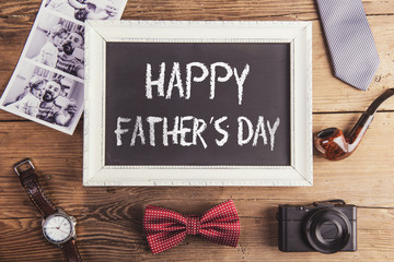 Fathers day composition on wooden desk background.