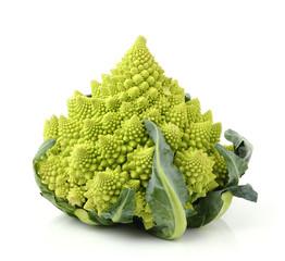 Romanesco broccoli on white background
