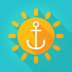 Long shadow sun icon with an anchor