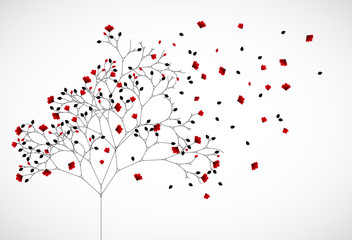 Abstract nature background with red flowers. Vector