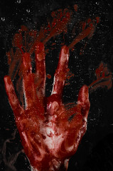 The bloody hand on the wet glass, the bloody window, horror