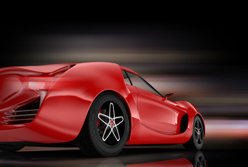 Rear view of red sports car on black background