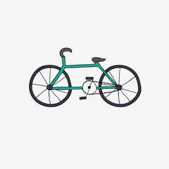 and draw bike. Vector illustration.