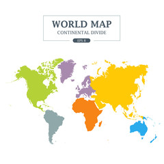 World Map Continental Divide. Full Color Vector Illustration.