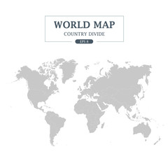 World Map Country Divide on White Background.