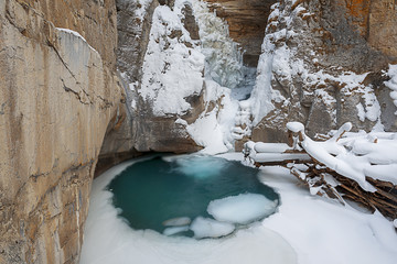 Canada, Banff, Johnston Canyon in winter