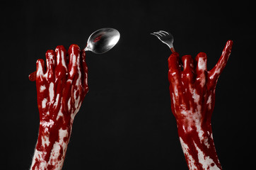 bloody hand holding a spoon, fork, bloody spoon, fork, isolated