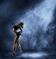 Dancing Woman, Sexy Girl Posing in Expressive Sport Dance, Fitne