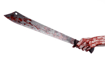 hand holding a bloody machete on a white background