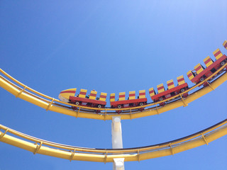 USA, California, Los Angeles County, Santa Monica, Roller coaster ride