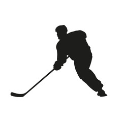 Hockey player. Vector silhouette