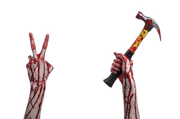bloody hand holding  bloody hammer isolated on  white background