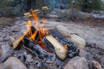 Preparing smores on campfire