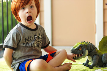 Boy playing with toy dinosaur