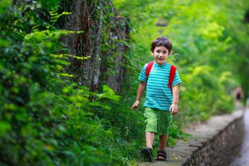 Boy walking (4-5) in park
