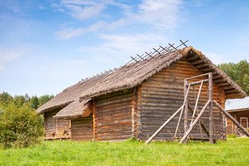 Russian rural wooden architecture example, old barns