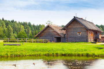 Russian wooden architecture, old rural houses