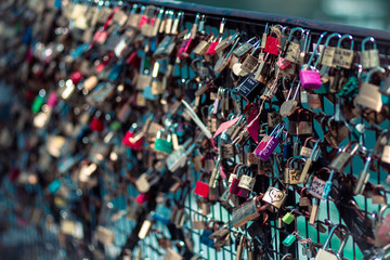France, Paris, Love padlocks on Pont des Arts