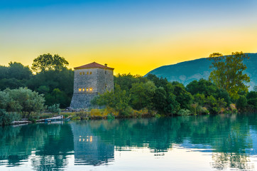 The Venetian Tower of Butrint, at sunrise in  Albania.
