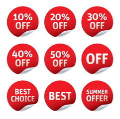Set of red vector stickers - OFF, Best Choice, Summer Offer