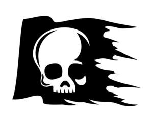 skull flag logo image vector