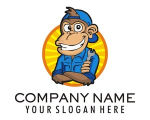 mechanic monkey character logo image vector
