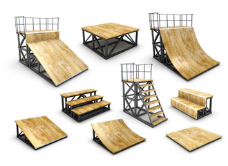 Set of skatepark element