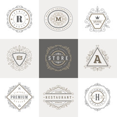Monogram logo template with flourishes  ornament elements